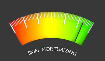 Abstract meter read level of skin moisturizing result.