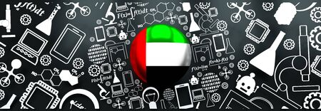 Innovation and technology concept. Circle frame with thin line icons. Flag of the United Arab Emirates. 3D rendering