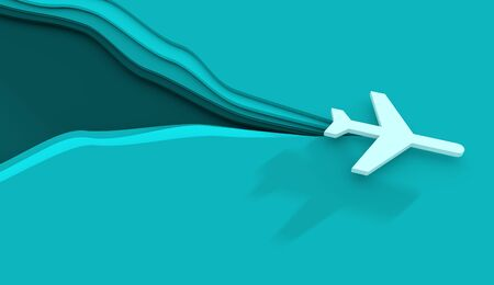 Air plane travelling concept illustration. Paper cut style. 3D rendering