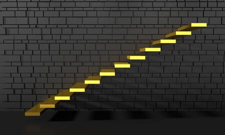 Outdoor view of part of wall with golden staircase. Abstract architectural background. Business success concept. 3D rendering
