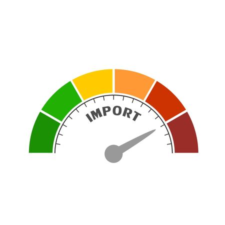 Import level scale with arrow. The measuring device icon. Sign tachometer, speedometer, indicators. Infographic gauge element. Illusztráció