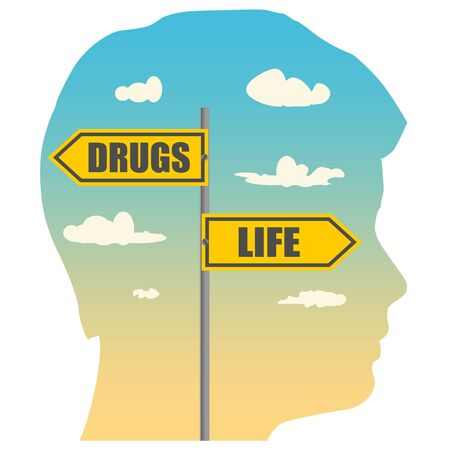 Double exposure portrait of young man and road signs. DRUGS and LIFE text pointing in opposite directions