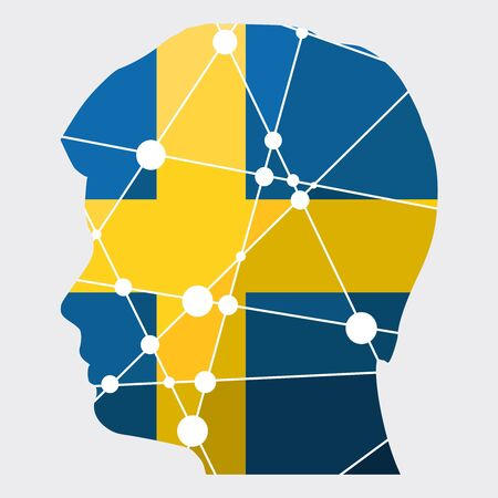 Double exposure portrait of young man. Flag of the Sweden. Low poly concept triangular style. Molecule and communication background. Connected lines with dots. Gradient painting Illustration