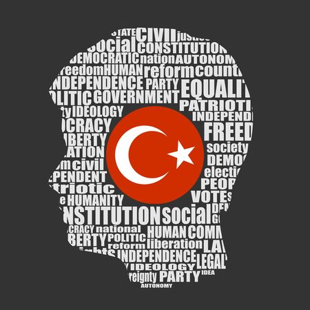 Head of man filled by word cloud. Words related to politics, government, parliamentary democracy and political life. Flag of the Turkey Ilustração