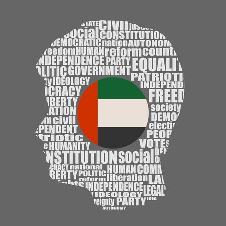 Head of man filled by word cloud. Words related to politics, government, parliamentary democracy and political life. Flag of the United Arab Emirates 向量圖像