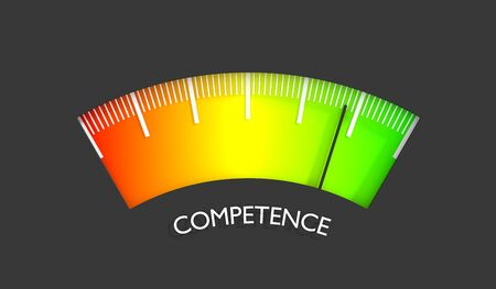 Competence level scale with arrow. The measuring device icon. Sign tachometer, speedometer, indicators. Infographic gauge element. 3D rendering