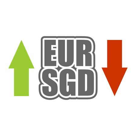 Financial market concept. Currency pair. Acronym EUR - European Union currency. Acronym SGD - Singapore Dollar.