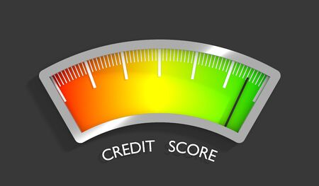 Credit score indicator and gauge. Measurement level illustration. 3D rendering