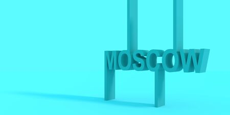 Image relative to Russia travel theme. Moscow city name in geometry style design. Creative typography poster concept. 3D rendering. Stockfoto