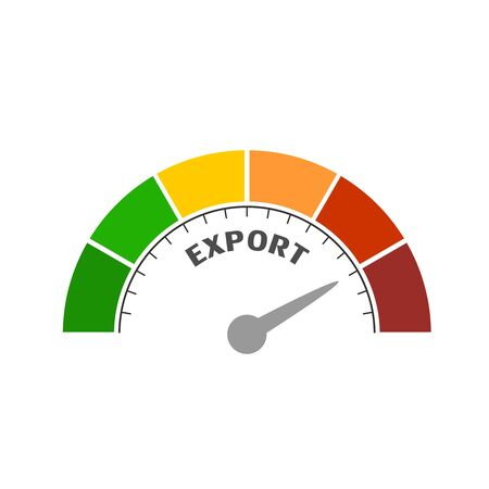Export level scale with arrow. The measuring device icon. Sign tachometer, speedometer, indicators. Infographic gauge element. Illusztráció