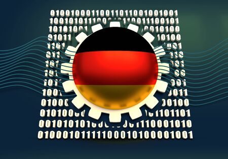 Binary code background with gear and flag of the Germany. Algorithm binary, data code, decryption and encoding. 3D rendering