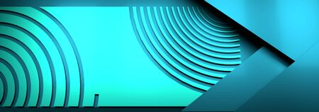Trendy banner template or website headers with abstract geometric background. 3D rendering
