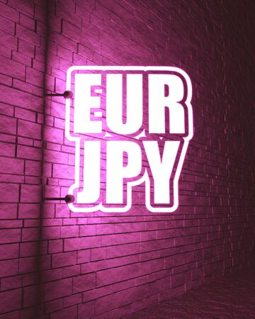 Financial market concept. Currency pair. Acronym EUR - European Union currency. Acronym JPY - Japanese Yen. 3D rendering. Neon bulb street sign illumination