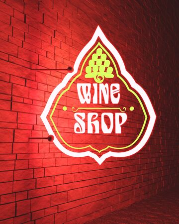 Wine shop emblem design. 3D rendering. Neon bulb street sign illumination Standard-Bild