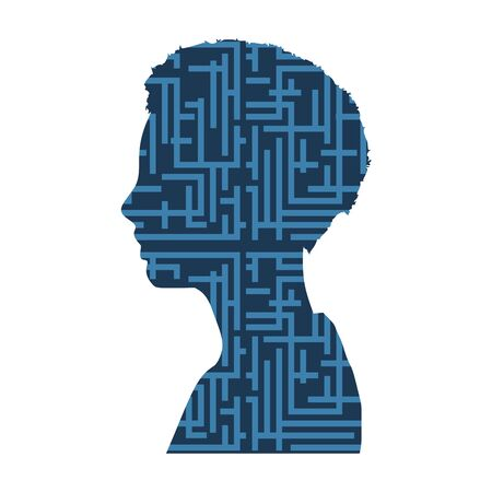 Face side view. Elegant silhouette of a female head. Web icon textured by labyrinth pattern