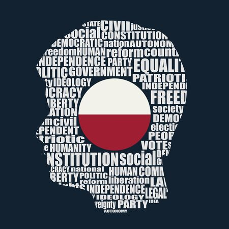 Head of man filled by word cloud. Words related to politics, government, parliamentary democracy and political life. Flag of the Poland