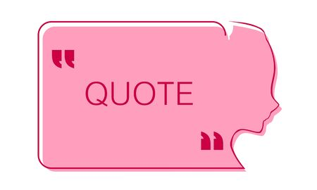 Quote blank with text bubble with woman face outline silhouette and commas. Template for note, message, comment. Dialog box.