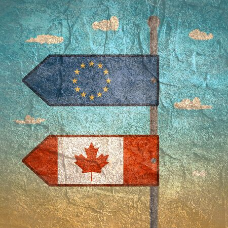 CETA - Comprehensive Economic and Trade Agreement. Europe and Canada association. Trade union. Brochure or circle frame design. Flags of the European Union and Canada on road sign