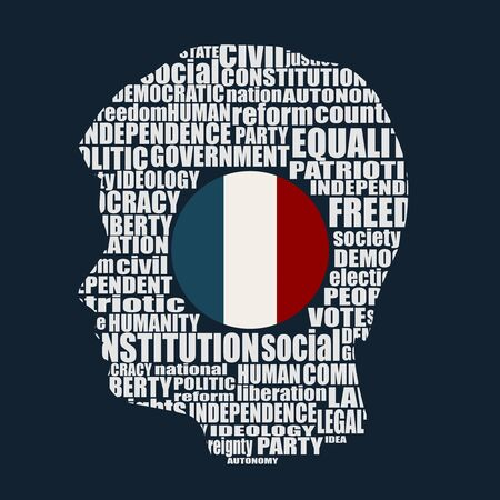 Head of man filled by word cloud. Words related to politics, government, parliamentary democracy and political life. Flag of the France