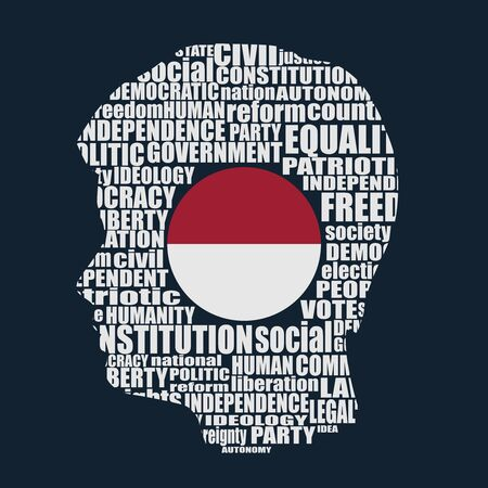 Head of man filled by word cloud. Words related to politics, government, parliamentary democracy and political life. Flag of the Indonesia Ilustração