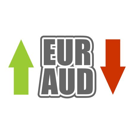 Financial market concept. Currency pair. Acronym EUR - European Union currency. Acronym AUD- Australian Dollar.