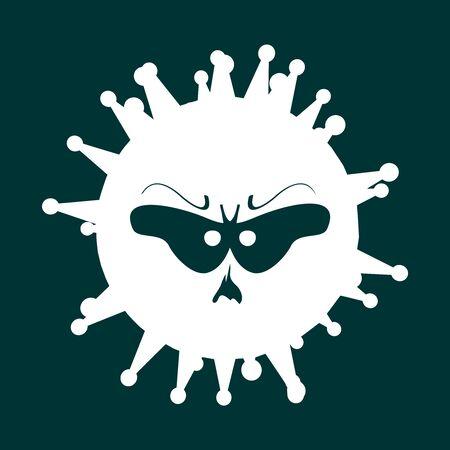 Abstract virus silhouette. Coronavirus virus danger relative illustration. Medical research theme. Virus epidemic alert. Abstract monster face  イラスト・ベクター素材