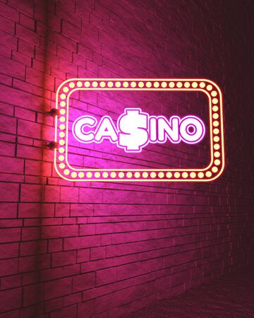 Casino street sign. Advertising billboard retro. Gambling concept. 3D rendering. Neon bulb illumination