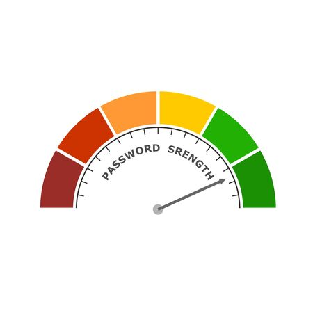 Abstract meter read level of password strength. Color scale with arrow. The measuring device icon. Colorful infographic gauge element. Ilustrace
