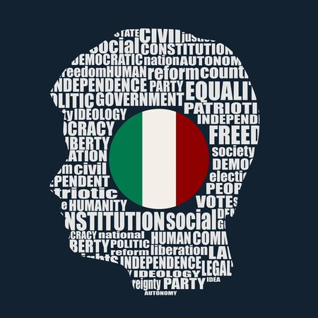 Head of man filled by word cloud. Words related to politics, government, parliamentary democracy and political life. Flag of the Italy Vettoriali