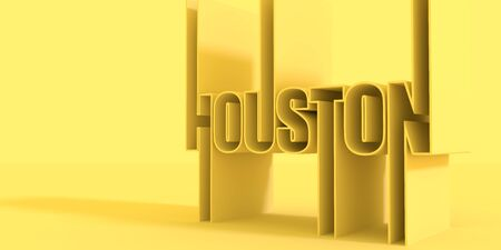 Houston city name in geometry style design. Creative vintage typography poster concept. 3D rendering.