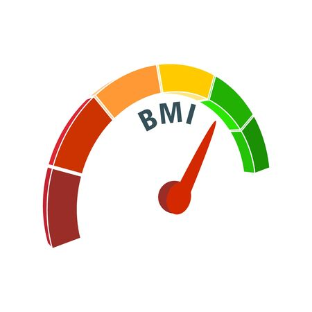 Body mass index meter read level result. Color scale with arrow from red to green. The measuring device icon. Colorful infographic gauge element.