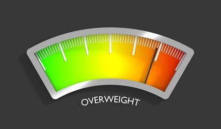 Body mass meter read high level result. Color scale with arrow from red to green. The measuring device icon. Colorful infographic gauge element. 3D rendering