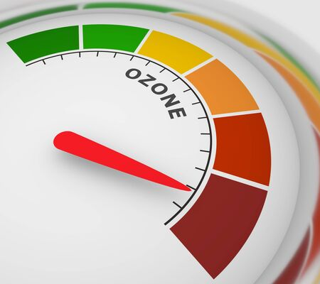 Abstract meter read level of ozone result. Color scale with arrow. The measuring device icon. Colorful infographic gauge element. 3D rendering Stock Photo