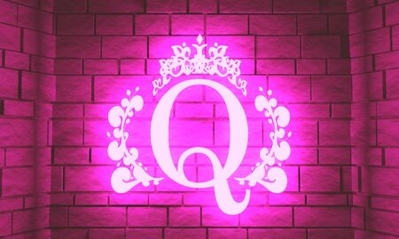 Vintage royal emblem with Q letter silhouette. Medieval queen crown. Fashion branding emblem. 3D rendering. Neon bulb illumination