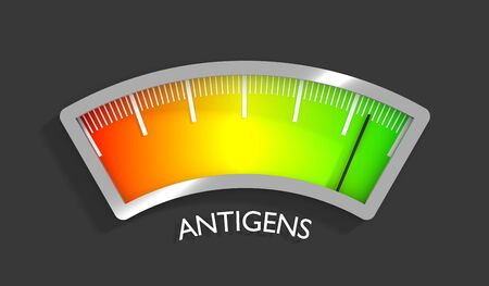 Antigens level scale with arrow. The measuring device icon. Sign tachometer, speedometer, indicators. Infographic gauge element. 3D rendering Stock Photo