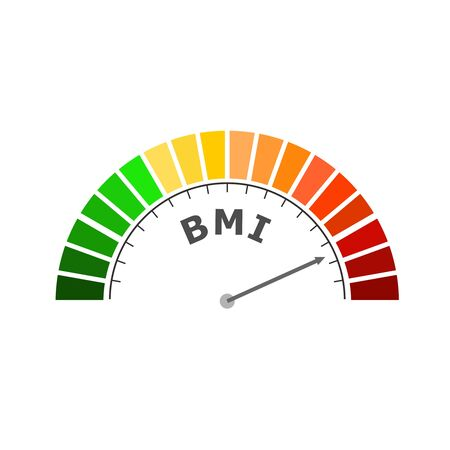 Body mass index meter read high level result. Color scale with arrow from green to red. The measuring device icon. Colorful infographic gauge element.