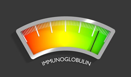 Immunoglobulin level scale with arrow. The measuring device icon. Sign tachometer, speedometer, indicators. Infographic gauge element. 3D rendering
