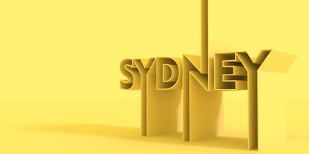 Image relative to Australia travel theme. Sydney city name in geometry style design. Creative vintage typography poster concept. 3D rendering.