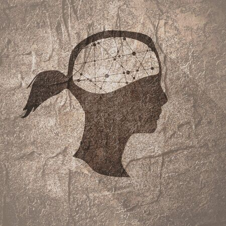 Silhouette of a woman head. Mental health concept. Scientific medical designs. Web icon with long shadow