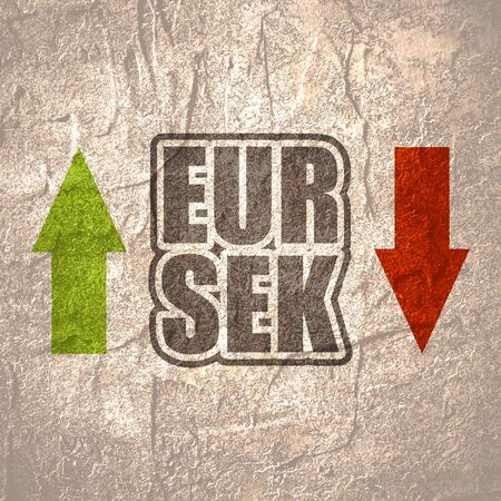 Financial market concept. Currency pair. Acronym EUR - European Union currency. Acronym SEK - Swedish Krone.