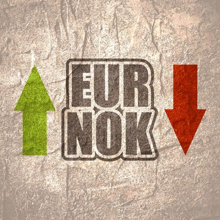 Financial market concept. Currency pair. Acronym EUR - European Union currency. Acronym NOK - Norwegian Krone.