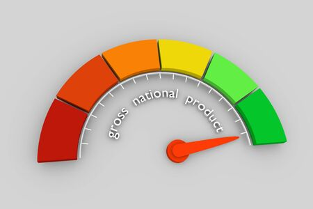 GNP - Gross National Product progress. Scale with arrow. The measuring device icon. Sign tachometer, speedometer, indicators. Infographic gauge element. 3D rendering Imagens