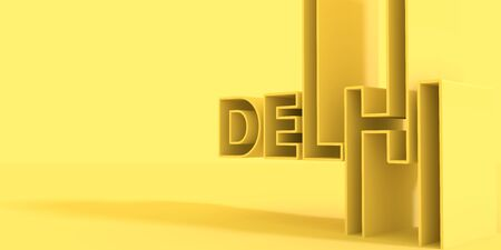 Image relative to India travel theme. Delhi city name in geometry style design. Creative vintage typography poster concept. 3D rendering.