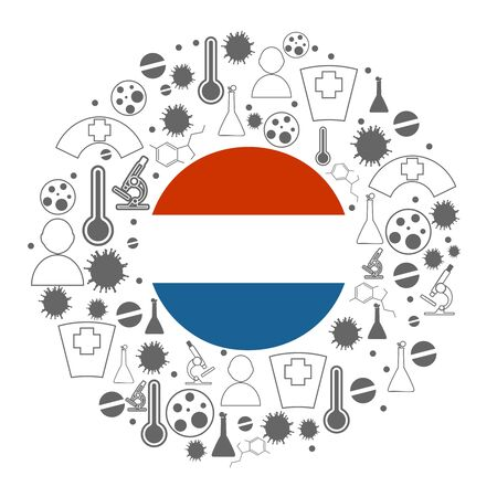 Circle frame with medicine icons and tags. Coronavirus virus danger relative illustration. Flag of the Netherlands