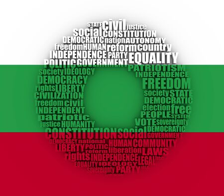 Word cloud with words related to politics, government, parliamentary democracy and political life. 3D rendering. Flag of the Bulgaria