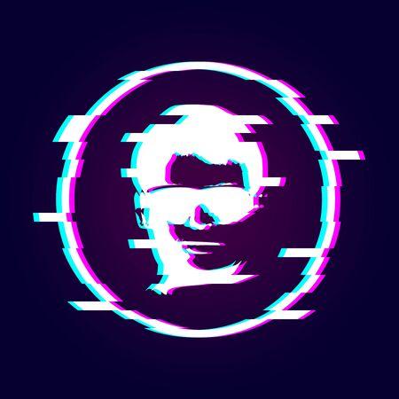 Glitched human portrait. Frame design. Distorted glitch style modern background. 向量圖像