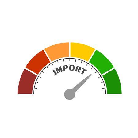 Import level scale with arrow. The measuring device icon. Sign tachometer, speedometer, indicators. Infographic gauge element. Illusztráció