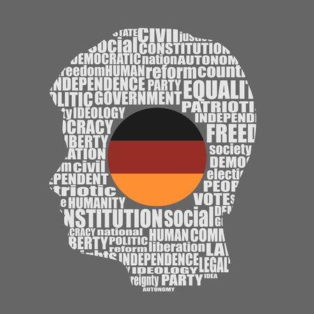 Head of man filled by word cloud. Words related to politics, government, parliamentary democracy and political life. Flag of the Germany