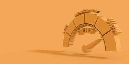 Scale with arrow from low to high. Debt measuring device icon. Sign tachometer, speedometer, indicators. Infographic gauge element. Business concept on debt. 3D rendering