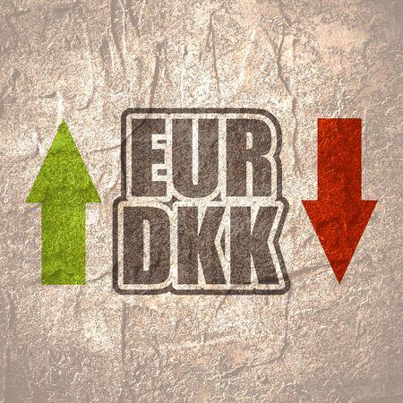 Financial market concept. Currency pair. Acronym EUR - European Union currency. Acronym DKK - Danish Krone. Reklamní fotografie